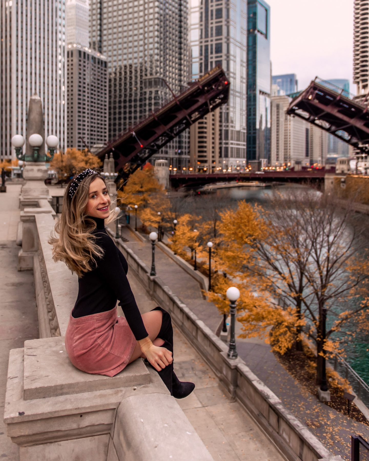 Chicago riverwalk in the fall