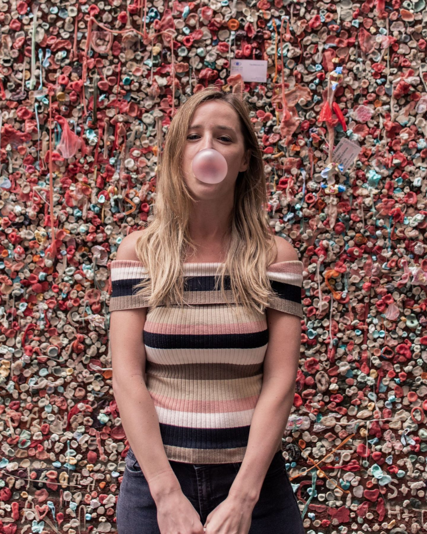 girl at the seattle gum wall