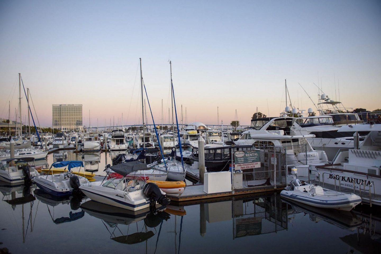 Sunset over the marina next to Seaport Village