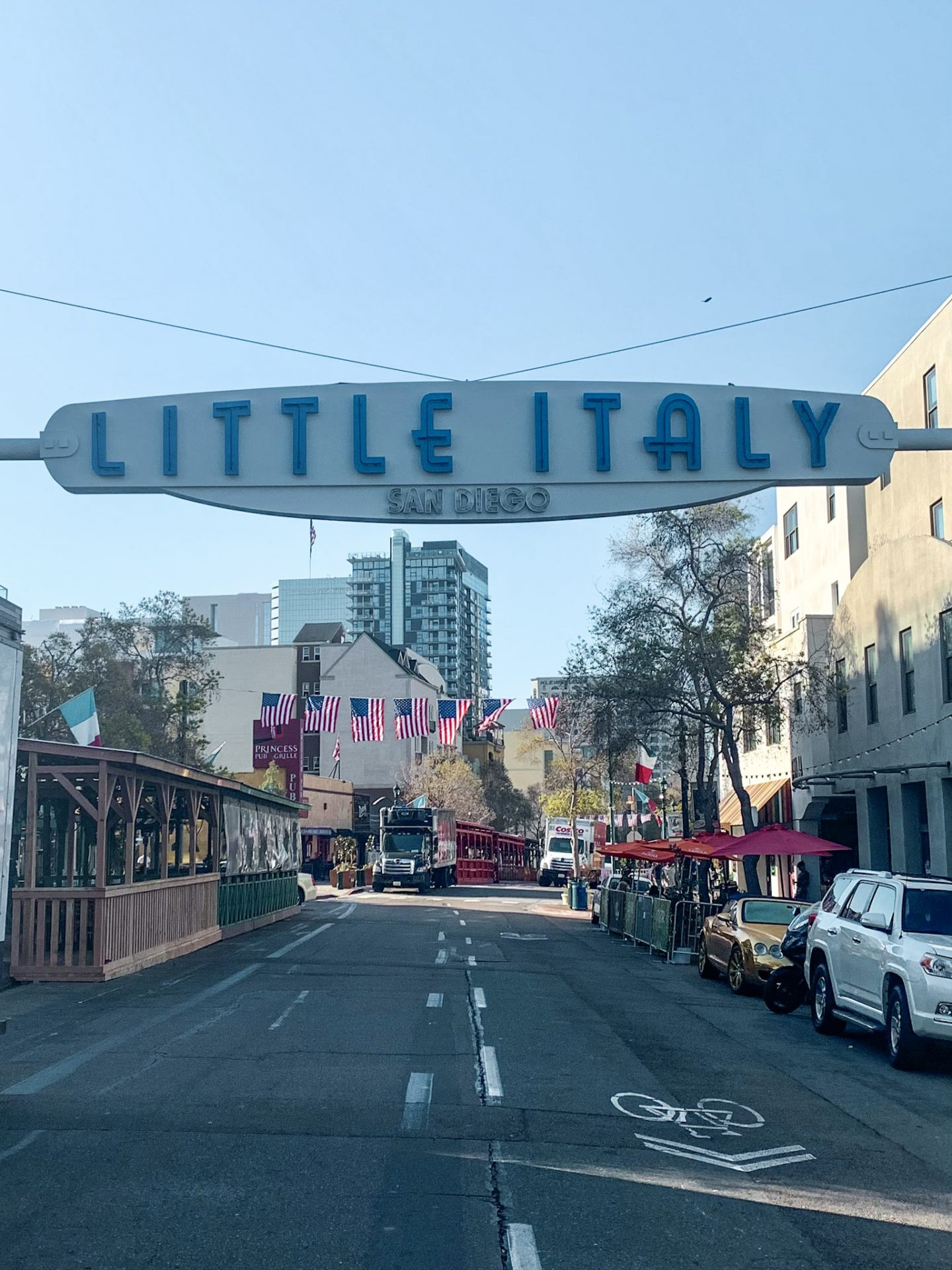 The little italy street sign in san diego