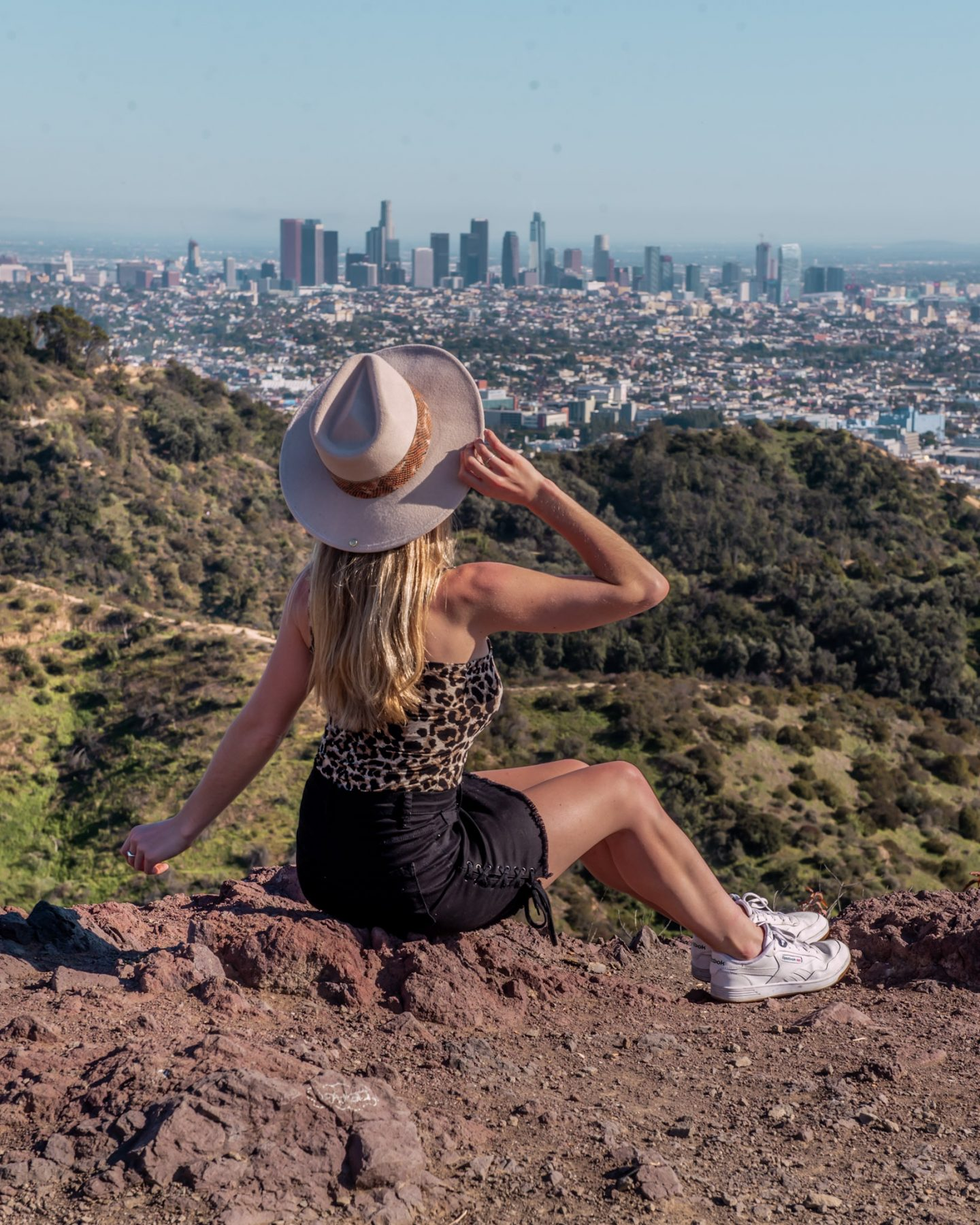 views of downtown LA from the hollywood sign hike