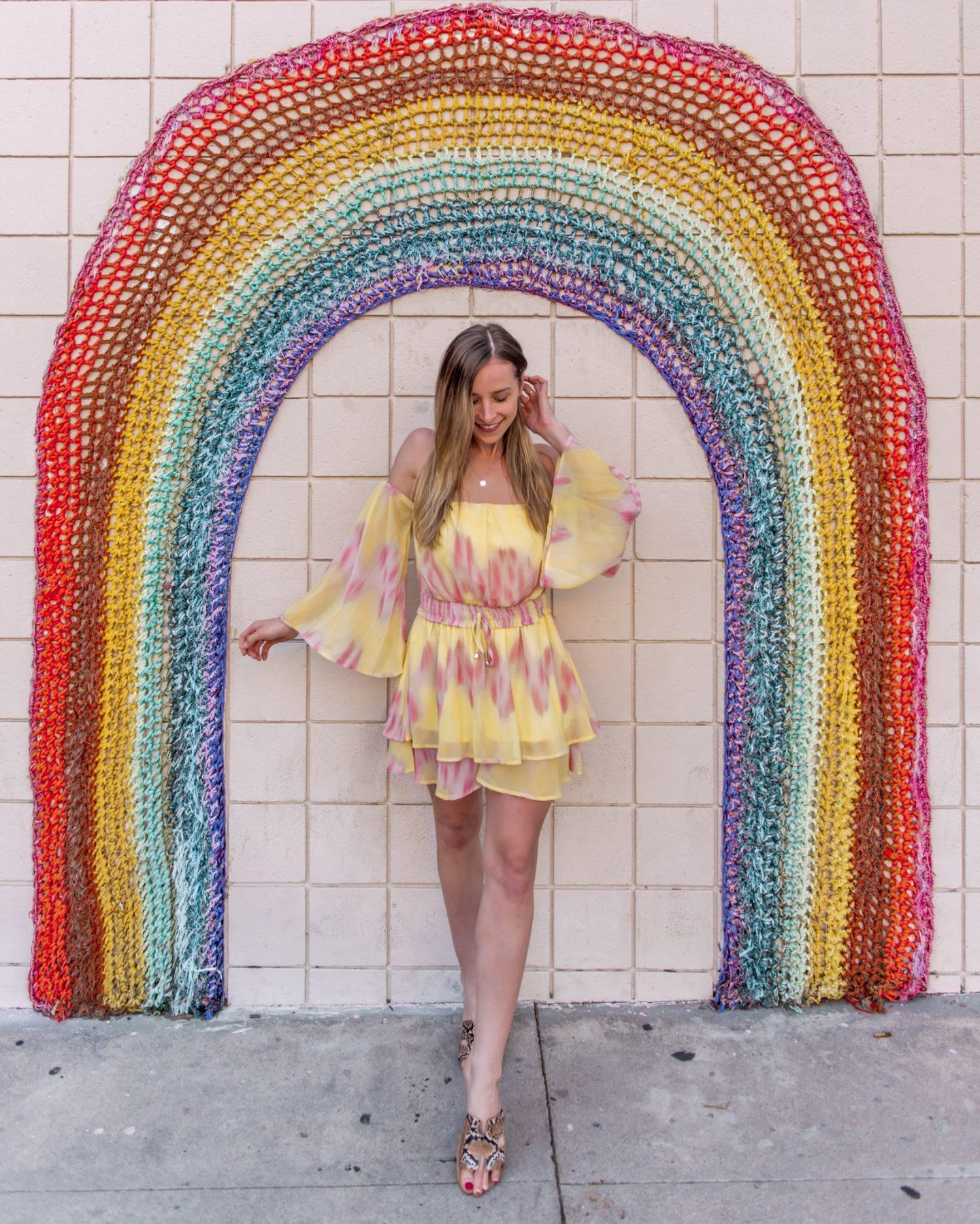 rainbow crochet mural in west hollywood